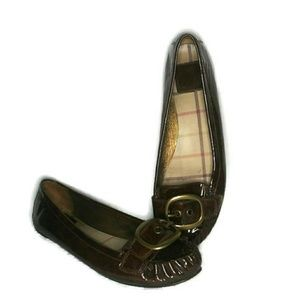 Coach Ornette Brown Patent Leather Flat Loafers